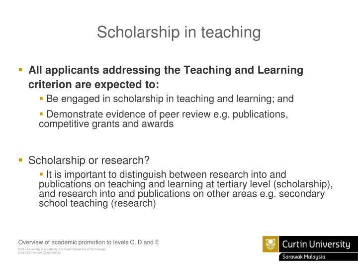 Scholarship in teaching