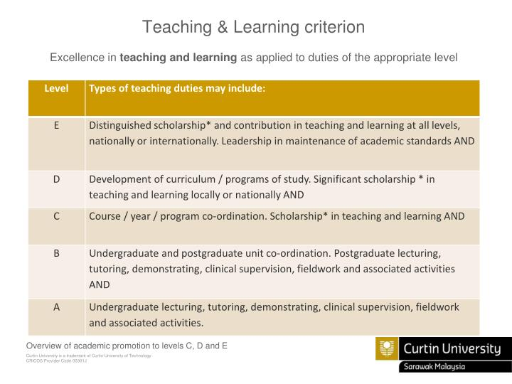 Teaching & Learning criterion