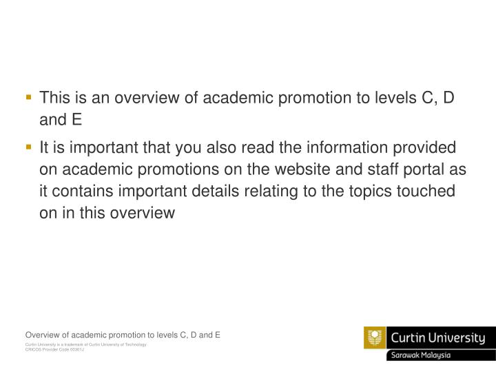 This is an overview of academic promotion to levels C, D and E
