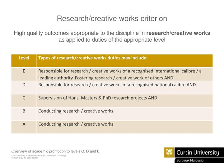 Research/creative works criterion