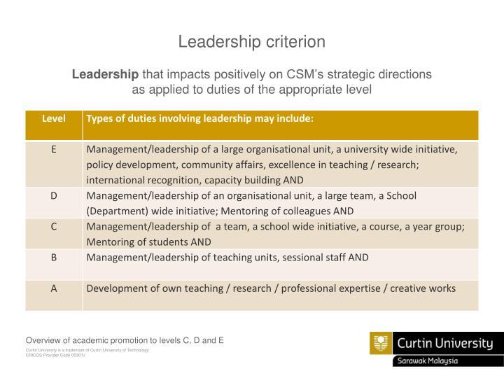 Leadership criterion