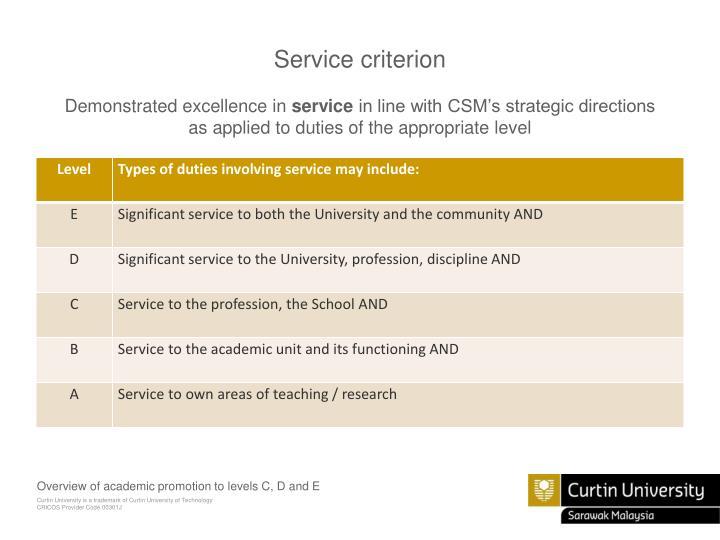 Service criterion