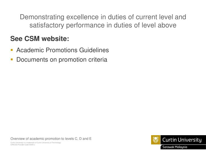 Demonstrating excellence in duties of current level