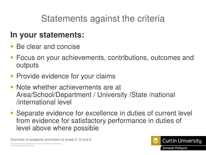 Statements against the criteria