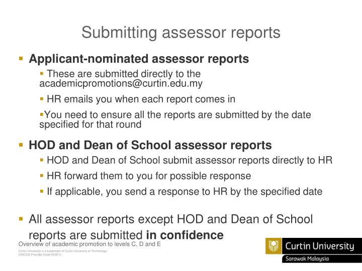 Submitting assessor reports