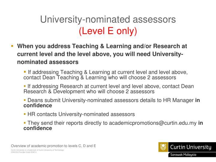 University-nominated assessors