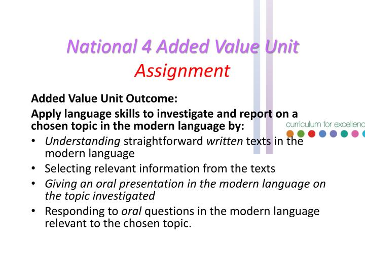 National 4 Added Value Unit