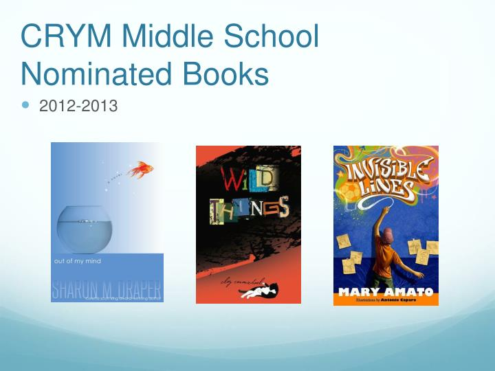 crym middle school nominated books