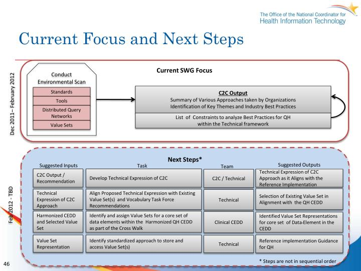 Current Focus and Next Steps