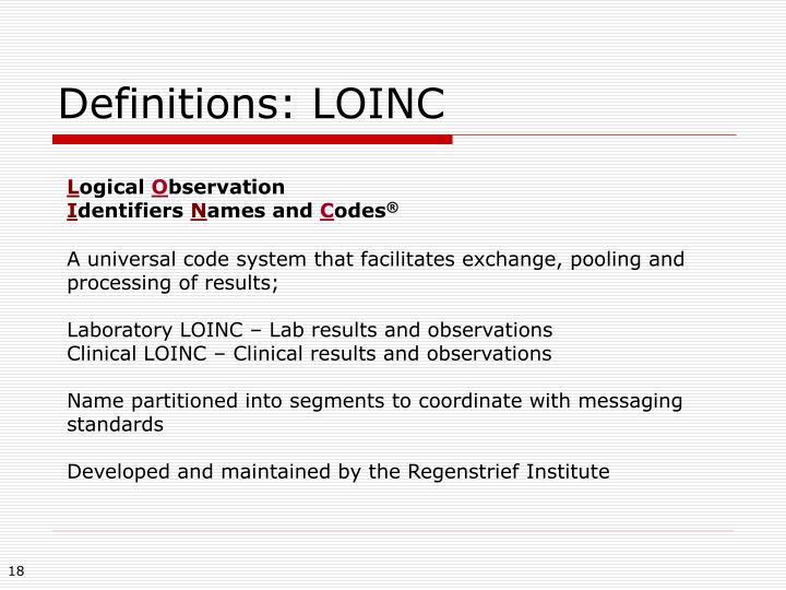 Definitions: LOINC