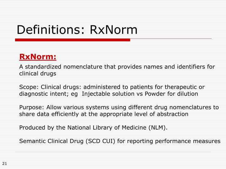 Definitions: RxNorm