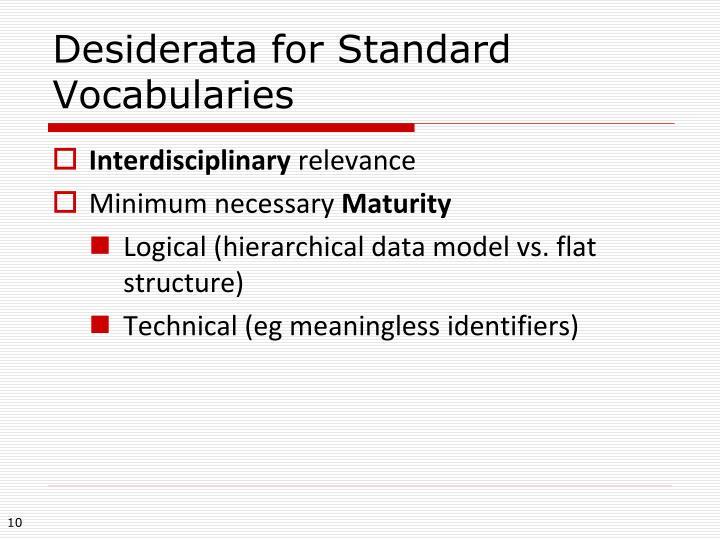 Desiderata for Standard Vocabularies