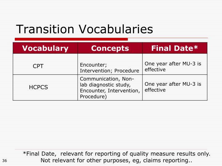 Transition Vocabularies
