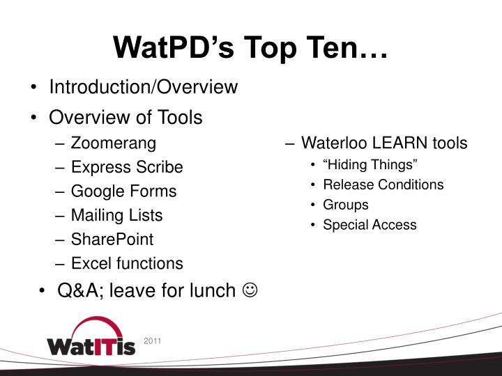 WatPD's