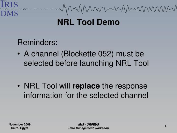 NRL Tool Demo