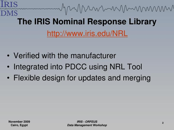 The IRIS Nominal Response Library
