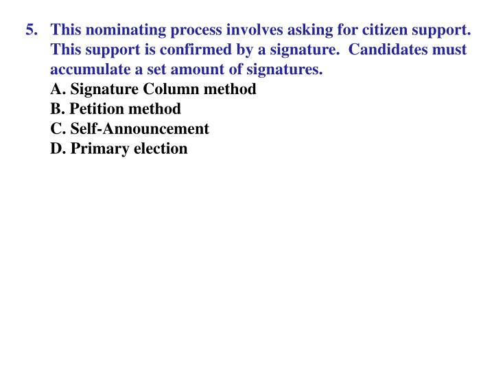 This nominating process involves asking for citizen support.