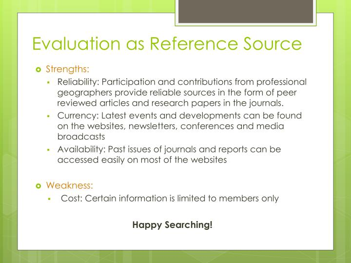 Evaluation as Reference Source