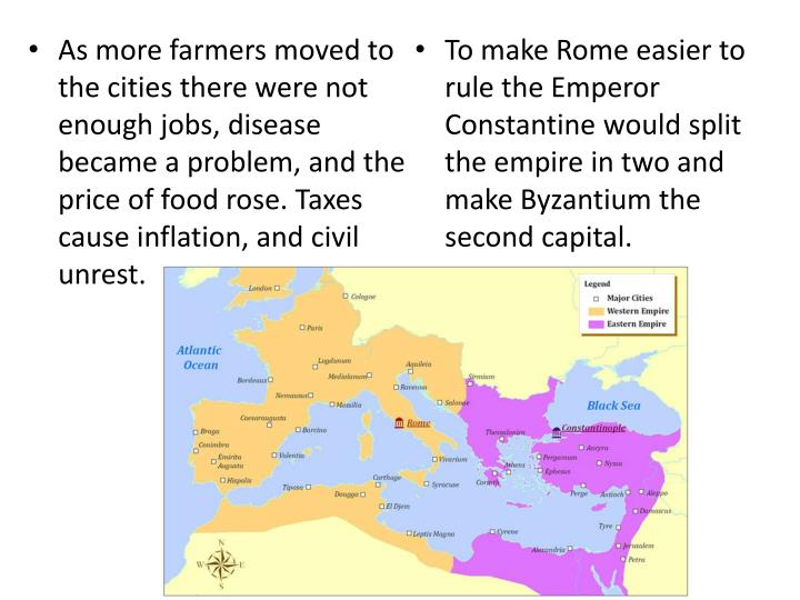 As more farmers moved to the cities there were not enough jobs, disease became a problem, and the price of food rose. Taxes cause inflation, and civil unrest.
