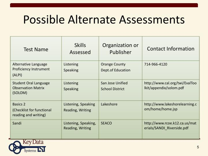 Possible Alternate Assessments