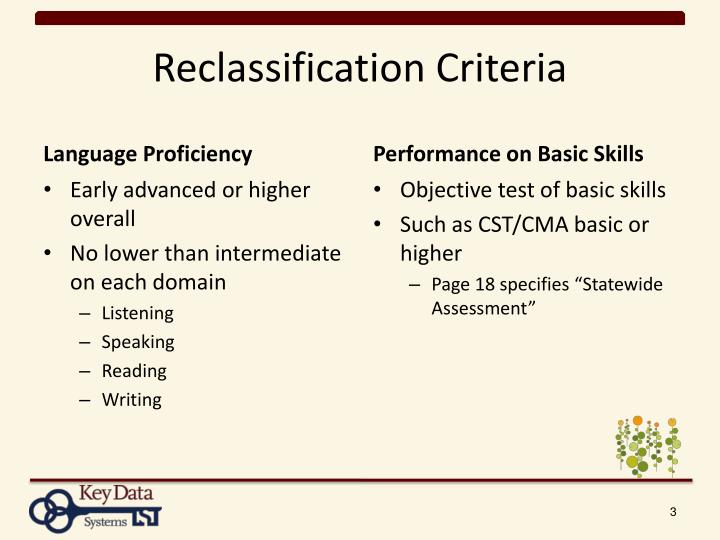 Reclassification Criteria