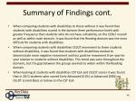 summary of findings cont