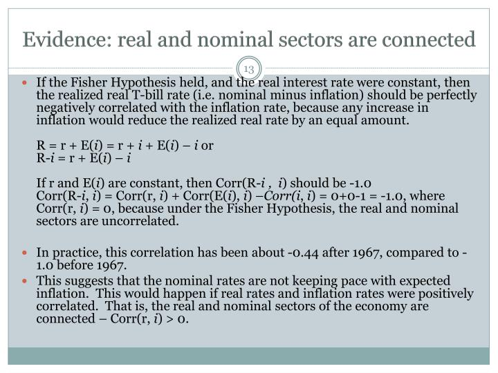 Evidence: real and nominal sectors are connected