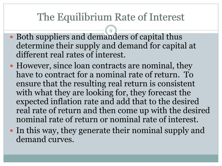 The Equilibrium Rate of Interest