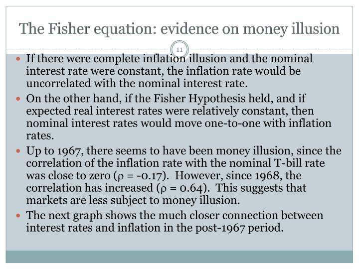 The Fisher equation: evidence on money illusion