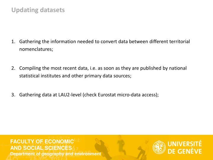 Updating datasets
