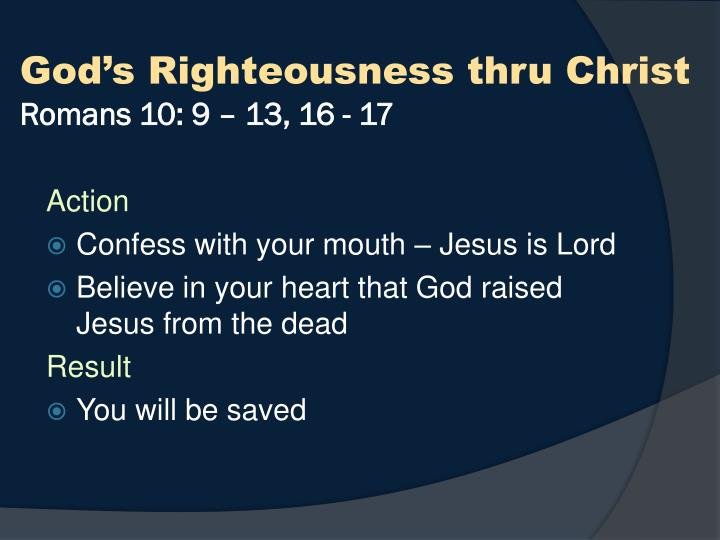 God's Righteousness thru Christ