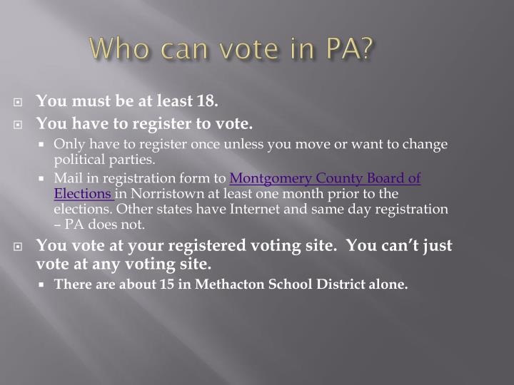 Who can vote in pa