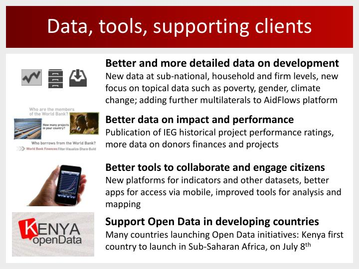 Data, tools, supporting clients