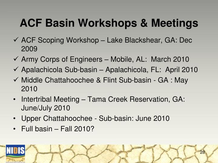 ACF Basin Workshops & Meetings