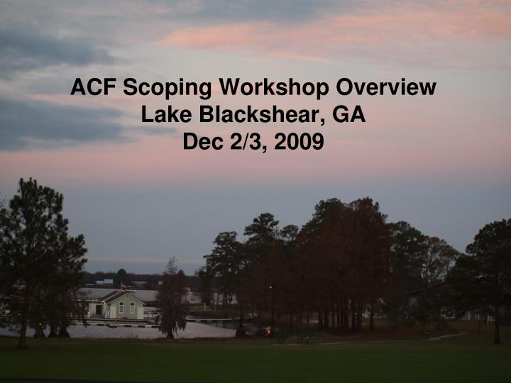 ACF Scoping Workshop Overview