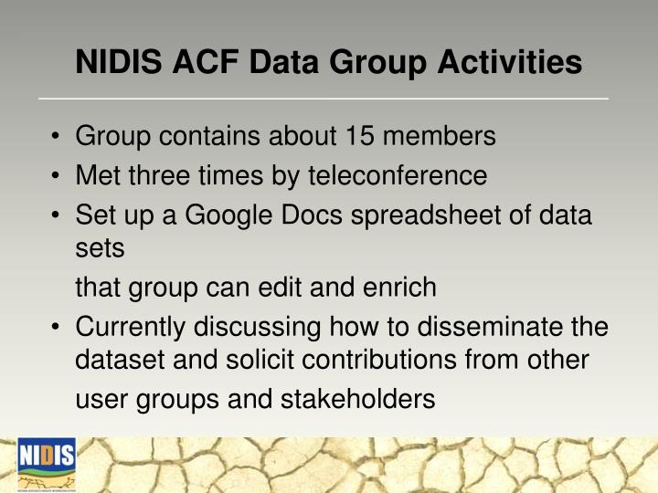 NIDIS ACF Data Group Activities