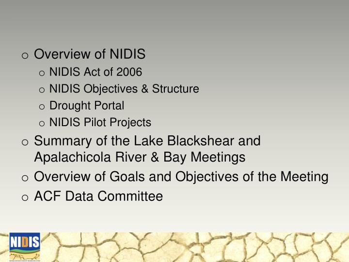 Overview of NIDIS