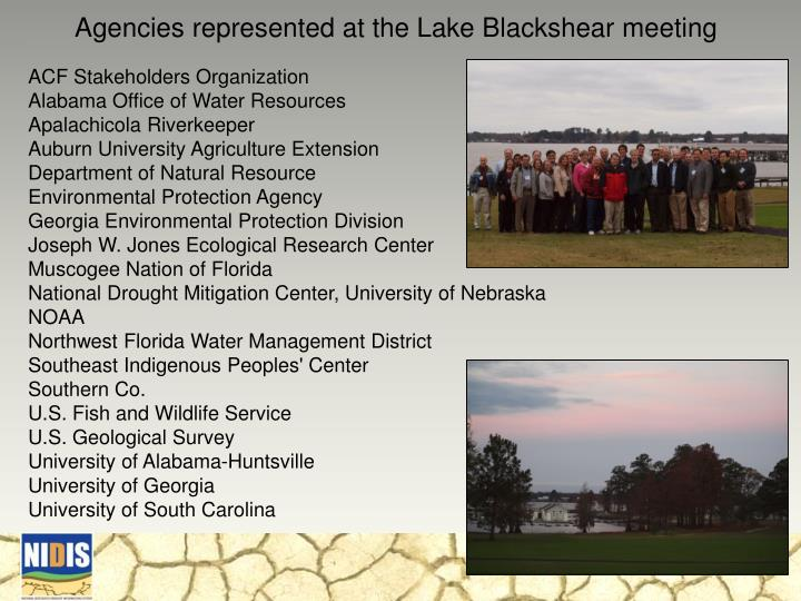 Agencies represented at the Lake Blackshear meeting