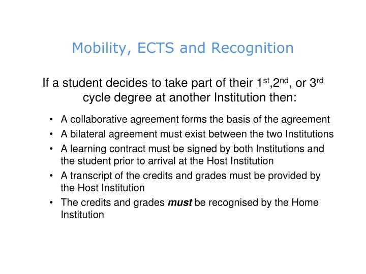 Mobility, ECTS and Recognition