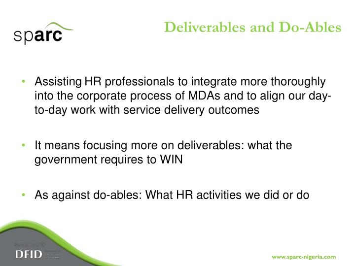 Deliverables and Do-