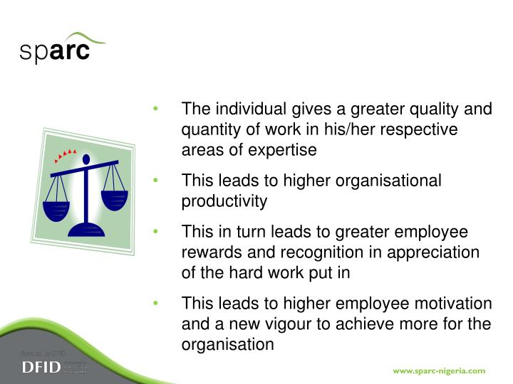 The individual gives a greater quality and quantity of work in