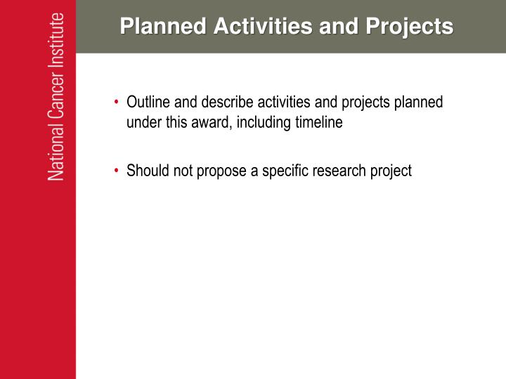 Planned Activities and Projects