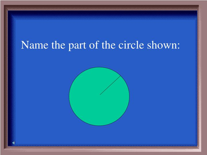 Name the part of the circle shown:
