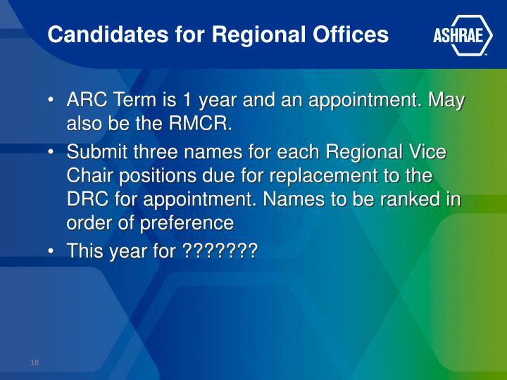 Candidates for Regional Offices