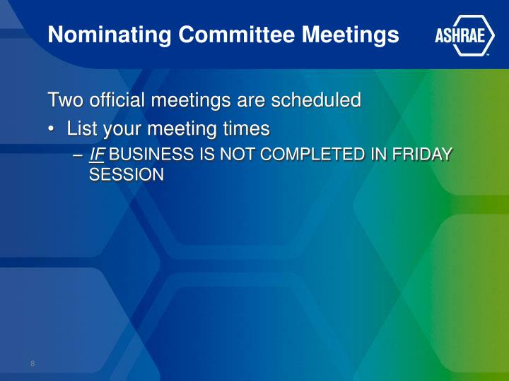 Nominating Committee Meetings