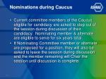 nominations during caucus