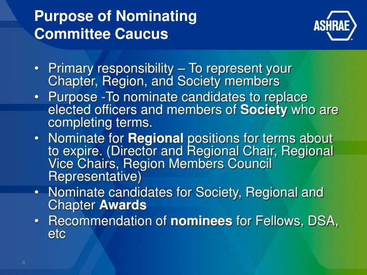 Purpose of Nominating