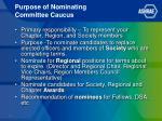 purpose of nominating committee caucus