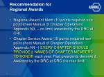 recommendation for regional awards