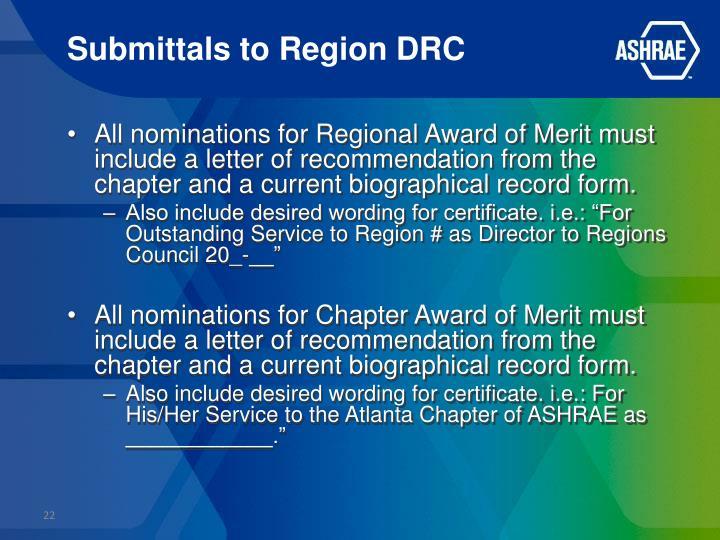 Submittals to Region DRC